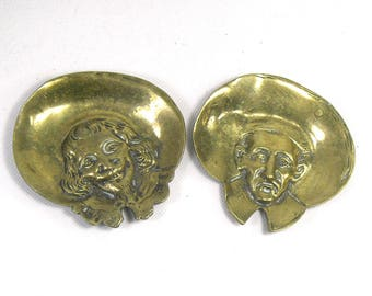 Vintage Brass Roundhead and Cavalier Pin Dish/Brass Cavalier/Brass Roundhead/Brass Pin Dish/Brass Ashtray/Charles I/Oliver Cromwell