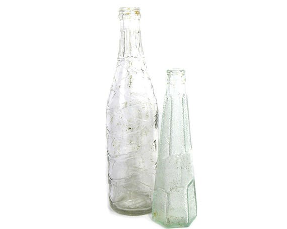 "12"" Vintage Pair of Tall Clear Glass Drinks Bottles"