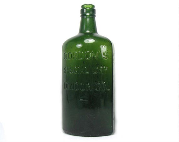 """9"""" Tall Vintage Green Gin Bottle by Gordon's"""