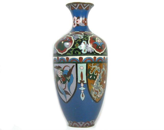 975 Antique Japanese Cloisonne Vase From Meiji Period Etsy