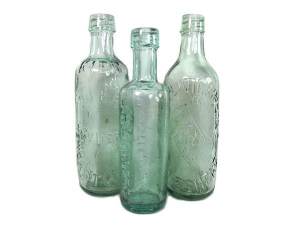English Antique Set of 3 Aqua Mineral Water Bottles