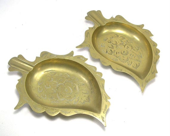 Pair of Vintage Indian Brass Ashtrays
