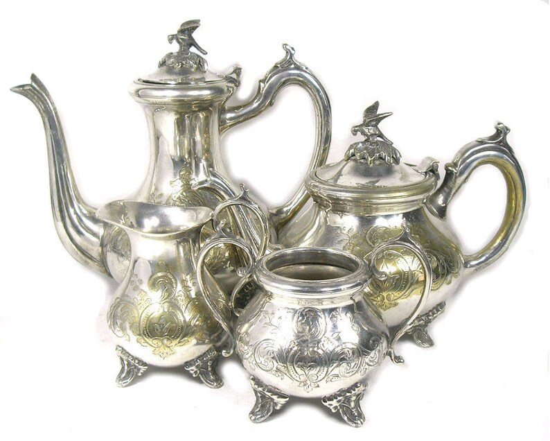 65062bcd8a405 Vintage Silver Plated Coffee Set with Bird Finial EPNS Coffee