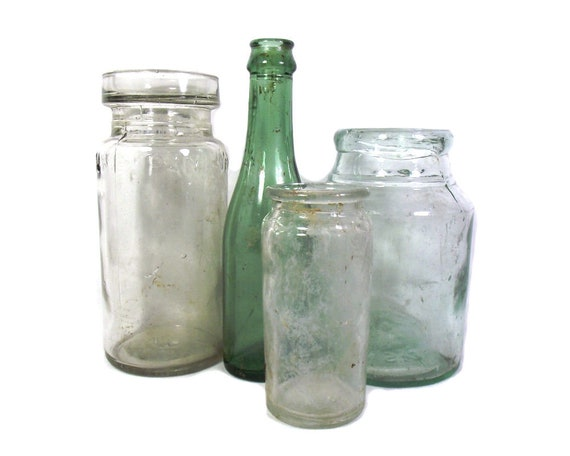 """7.5"""" Tall English Antique Set of Glass Jars and Bottle"""