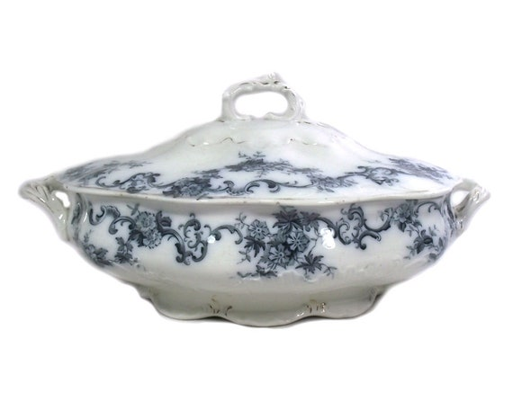 Antique Victorian Blue and White Tureen by New Wharf Pottery