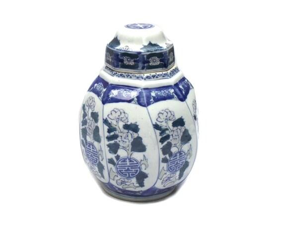 Vintage Chinese Ginger Jar in Octagonal Shape