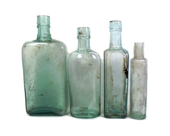 "7"" Tall English Antique Set of Aqua Glass Bottles"