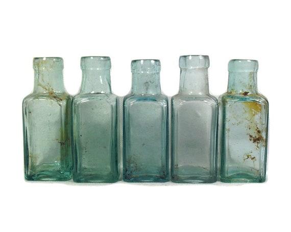 "4"" Tall Antique Set of 5 Aqua Glass Bottles"