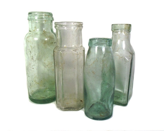 "8.5"" Tall Antique Set of Aqua and Clear Glass Jars"