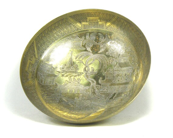 Vintage Chinese Brass Bowl with Garden Decoration