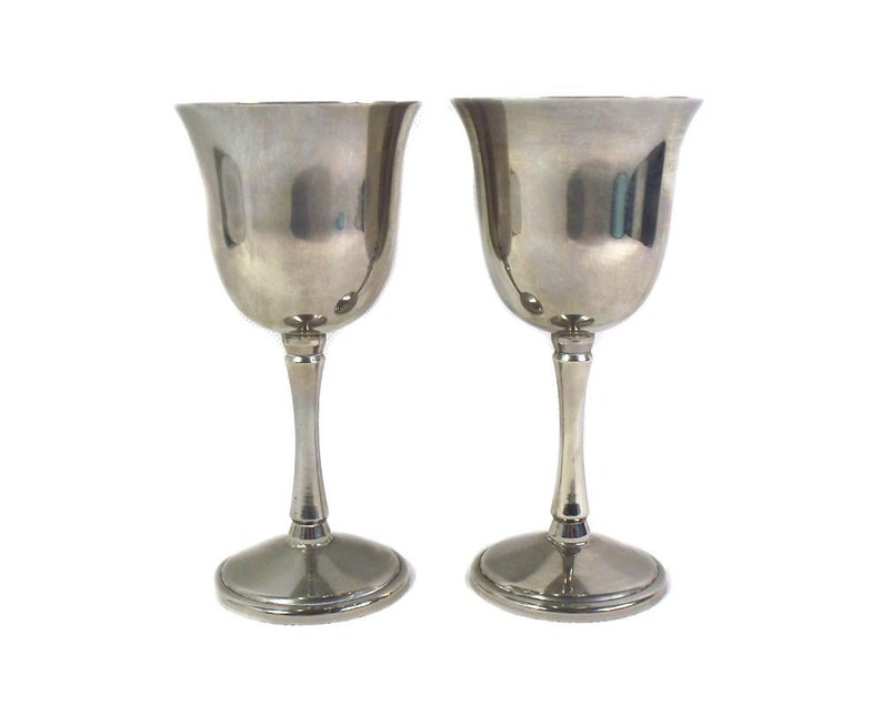 A Pair Of Mid Century Metal Wine Goblets Silver Plated Etsy