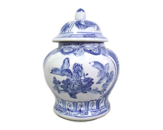 Vintage Blue and White Chinese Jar