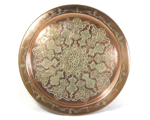 Vintage Copper Tray with Etched Design