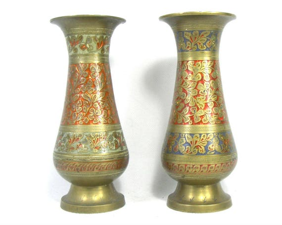 Vintage Indian Enamel Vases Indian Brass Vases Pair Of Etsy