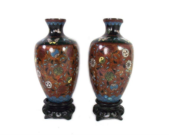 Pair Of Antique Japanese Cloisonne Vases From The Meiji Etsy