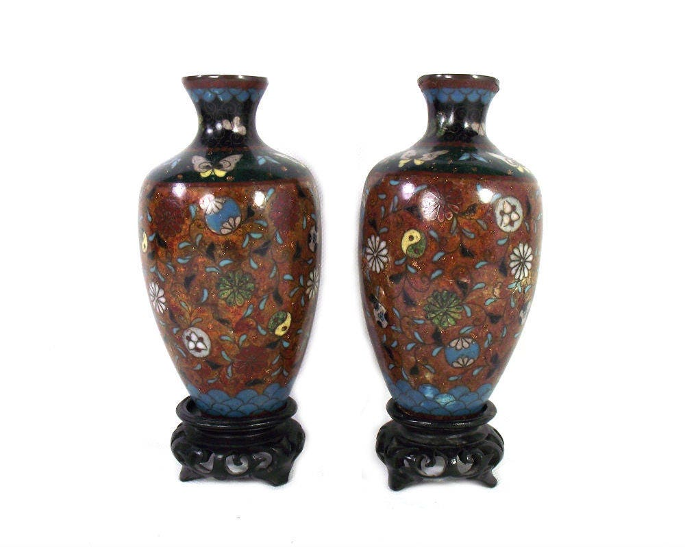 Asian Antiques Other Asian Antiques Supply Cloisonne Vase Pair And Plate