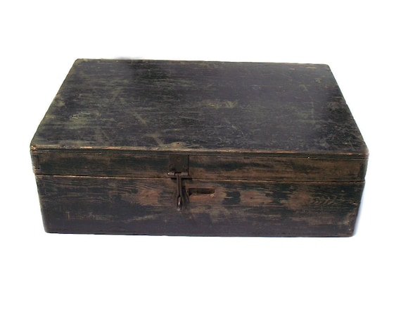 Vintage Rustic Wooden Box with Hinged Lid