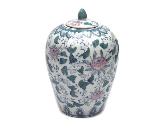 Large Vintage Chinese Jar, Pink and Green Chinoiserie Jar, Chinese Blue and White Vase, Chinese Decor, Chinoiserie Decor, Tall Floral Jar