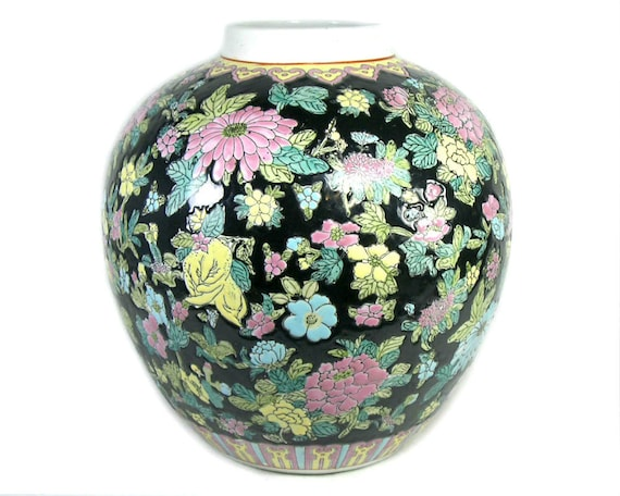 Large Vintage Chinese Ginger Jar with Black and Pink Floral Decor