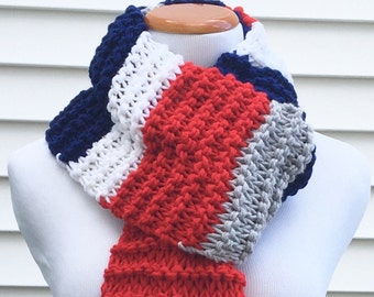 New England Patriots Scarf Patriots Scarf Team Scarf Football Scarf Striped Scarf Chunky Winter Scarf