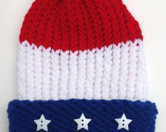 c3320931159 Captain America Inspired Hat Superhero Hat Comic Book Red White Blue Hat  Preemie Baby Infant Toddler Child s Teen Adult Knitted Winter Hat