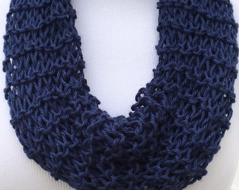Navy Blue Scarf Spring Scarf Christmas Scarf Open Knit Scarf Holiday Scarf Infinity Knitted Scarf