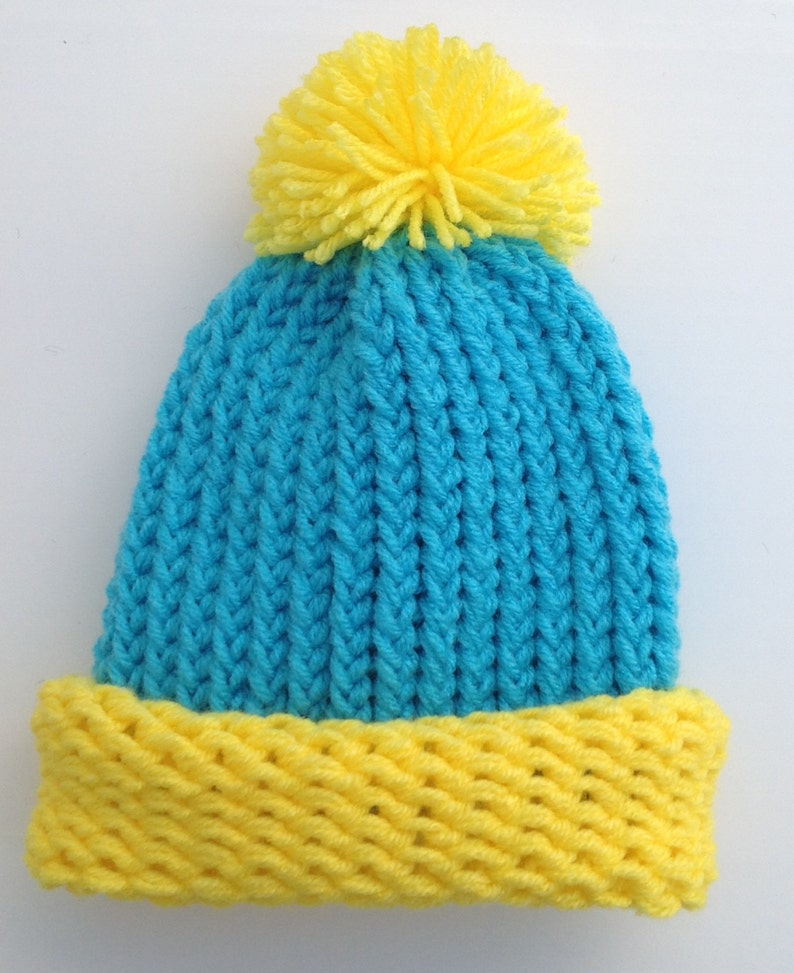 Cartman Hat South Park Hat Eric Cartman Hat Halloween Turquoise And Yellow Preemie Baby Infant Toddler Child/'s Teen Adult Knitted Winter Hat