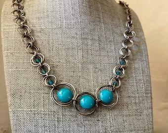 Handmade sterling silver Mobius spiral necklace, Princess blue Czech glass, adjustable handmade chain