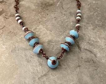 Handmade blue Mykono Greece ceramic necklace, Mobius spiral chain, statement necklace
