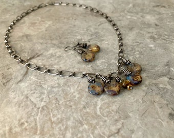Handmade statement necklace, amber Czech glass, adjustable handmade sterling silver chain and earrings set