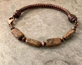 Rustic copper box weave bracelet with rectangle feldspar stones, lobster clasp bracelet