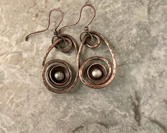 Copper spiral looped earrings, silver balls embellishments, hammered textured earrings
