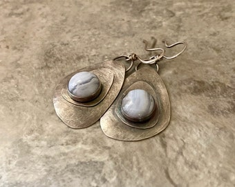 Handmade sterling silver teardrop earrings with blue lacy agate, layered silver design