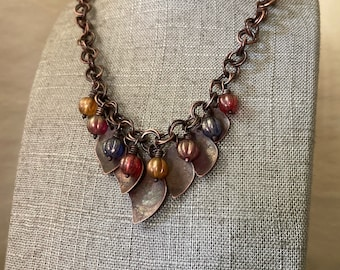 Old world copper necklace, handmade, adjustable chain, hand forged rustic metal leaf design, Czech glass globes