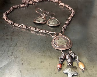 Mixed metal rustic necklace and earrings set, star design, handmade coil chain