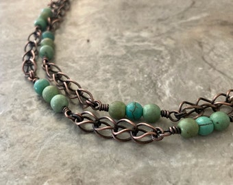 Turquoise copper necklace, handmade adjustable chain, green turquoise Magnesite beads
