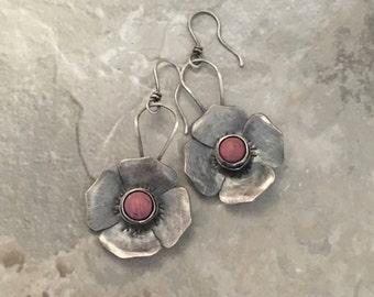 Sterling silver floral earrings, pink Rhodonite stones, handmade rustic design