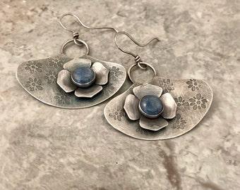 Sterling silver floral handmade earrings, denim blue Lapis stone, oxidized rustic design