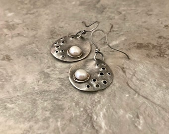 Sterling silver pearl, moon crater earrings, oxidized rustic wave design
