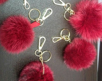 New Excellent Quality RED  MINK Pompom keychains-fur balls!