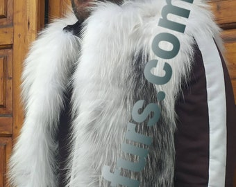 MEN'S!New Real Natural full pelts Black Kross FOX Fur Vest!