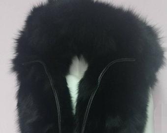 MEN'S BASIC!New Hooded Fluffy BLACK Fox Fur Vest!