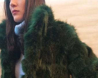 GREEN!New,Natural Real Fur fox jacket!
