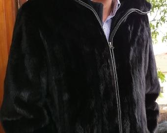 Men'S New Real Natural FULL PELTS EXCELLENT Quality BlacK MinK Fur Coat!