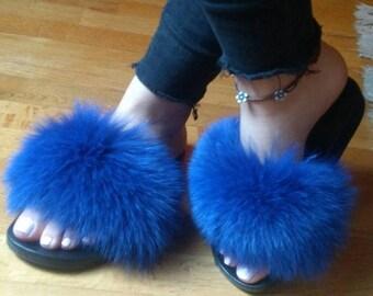 New Real Blue color FOX FUR SLIDES!