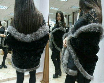 NEW!!!Natural,Real,ONE SIZE sleevless Black Mink Fur Cape-Shawl-Etol!!!