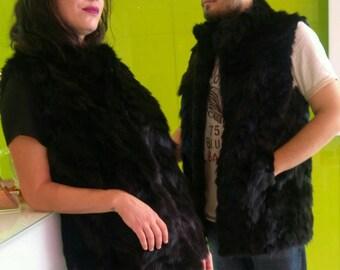 MEN'S!New Long Black Raccoon Fur VEST!