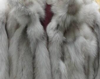 MEN'S New!Real Natural BLUE FOX Fur coat!