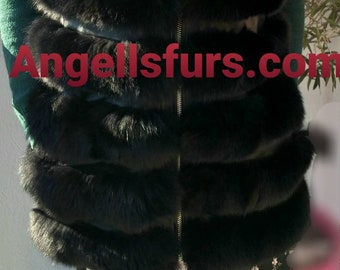 New model! Natural,Real Black Fullpelts FOX Fur Vest! Order ANY color!