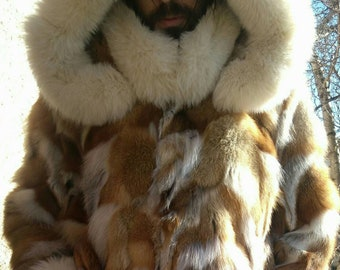 MEN'S New Real Natural with DETACHABLE HOOD, Knee length Red Fox Coat!